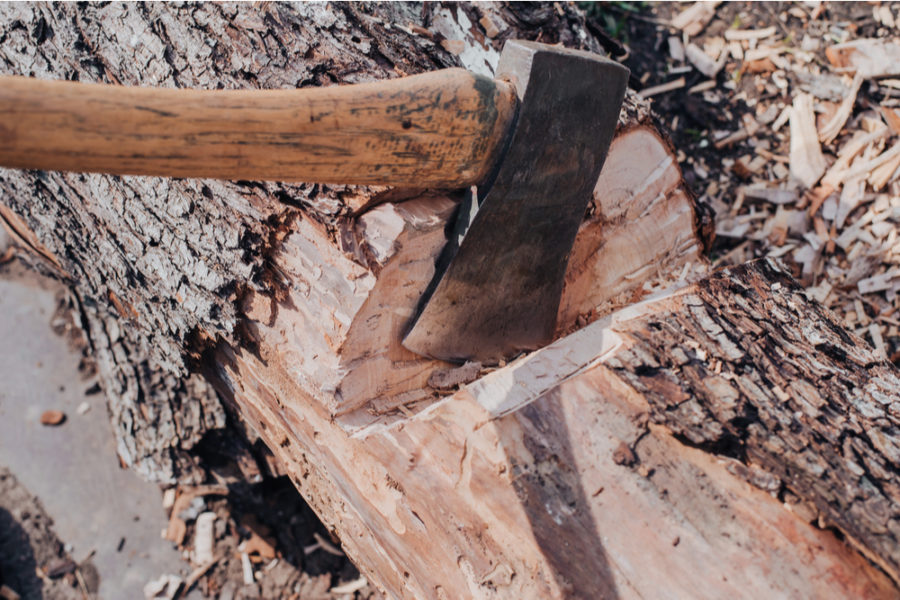 A felling axe chopping wood